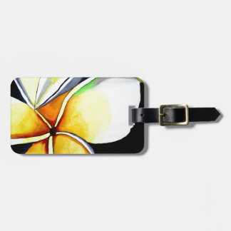 Frangipani flower art luggage tag