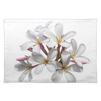 frangipani flower on white placemat