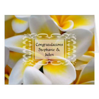 Frangipani flower wedding congratulations card