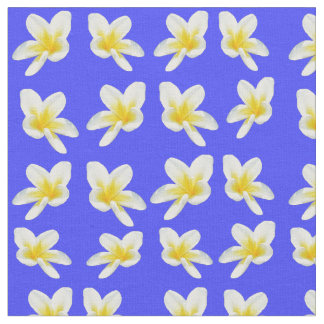Frangipani Flowers On Sky Blue , Cotton Material. Fabric