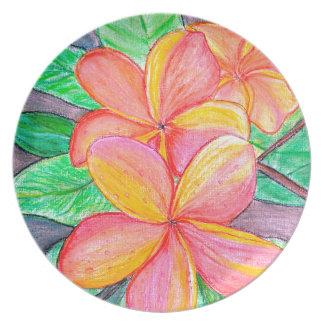 Frangipani Flowers Party Plates