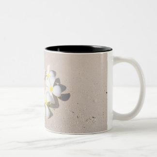 Frangipani on the beach Two-Tone coffee mug