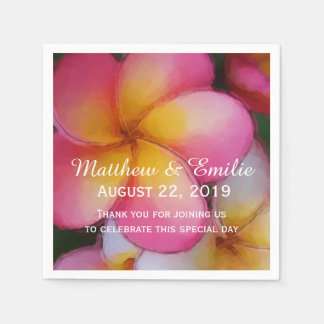 Frangipani Plumeria Flowers Wedding Disposable Napkins