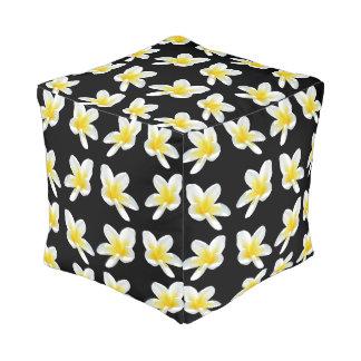 Frangipani Sensation, Full Print Cube Pouffe. Pouf