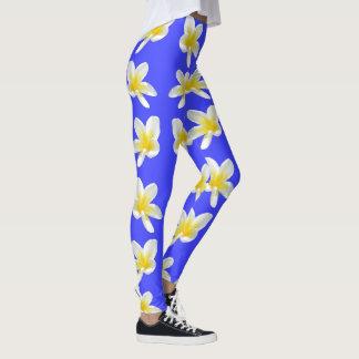 Frangipani Sunshine, Ladies Blue Floral Leggings