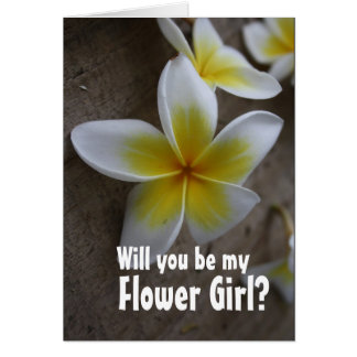 Frangipani Wedding Flower Girl Request Cards