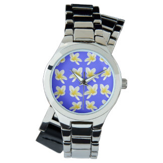 Frangipanis On Blue, Ladies Silver Wrap Watch