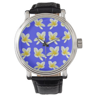 Frangipanis On Blue, Large Leather Face Watch