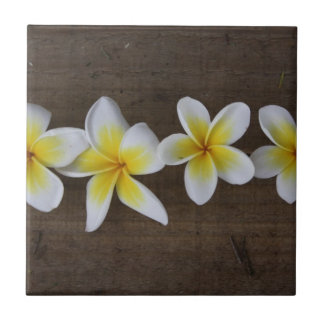 Frangipanis Plumeria on Rustic Wood Ceramic Tile
