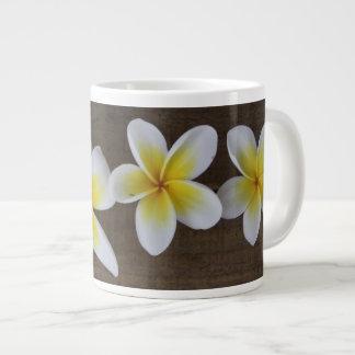 Frangipanis Plumeria on Rustic Wood Large Coffee Mug