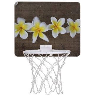 Frangipanis Plumeria on Rustic Wood Mini Basketball Hoop