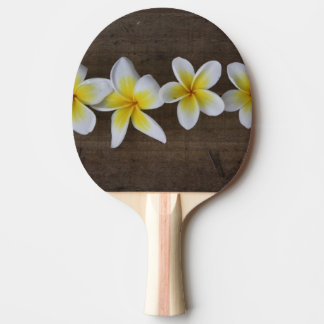 Frangipanis Plumeria on Rustic Wood Ping Pong Paddle