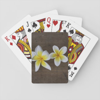 Frangipanis Plumeria on Rustic Wood Playing Cards