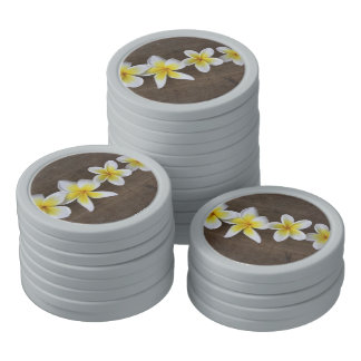 Frangipanis Plumeria on Rustic Wood Poker Chips Set