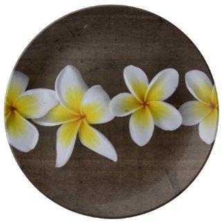 Frangipanis Plumeria on Rustic Wood Porcelain Plates