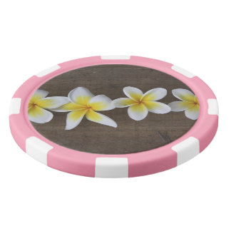 Frangipanis Plumeria on Rustic Wood Set Of Poker Chips