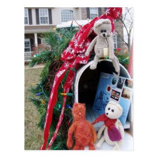 Frank, Leo and Mandarin Christmas Time Mailbox Postcard