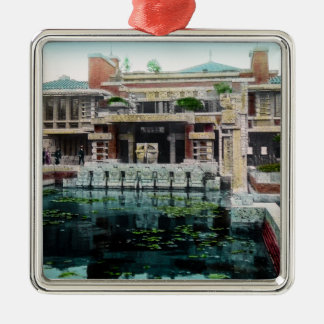 Frank Lloyd Wright Imperial Hotel Japan Vintage Silver-Colored Square Ornament