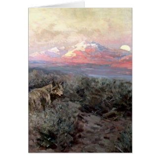"Frank Tenney Johnson Western Art ""Coyote Moonrise"" Card"