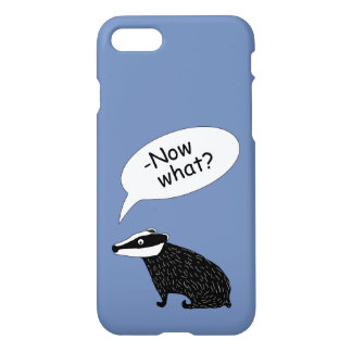 Frank the badger character iPhone case blue