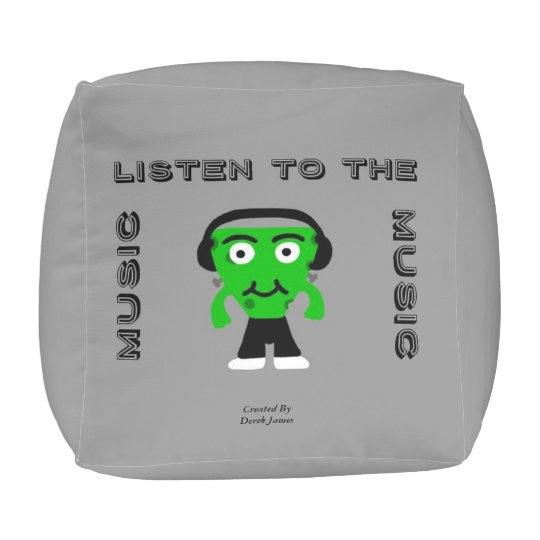 FrankenCheese Listen To The Music Small Cube Pouf