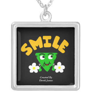 FrankenCheese Smile Large Square Silver Necklace