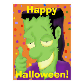 Frankencool Halloween Postcard