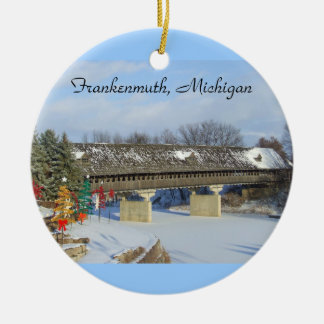 Frankenmuth MI Covered Wooden Bridge Ornament