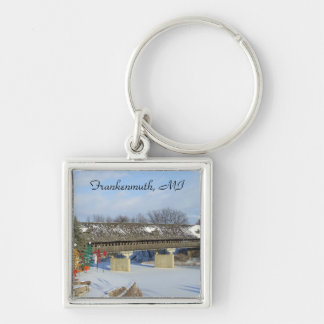 Frankenmuth Michigan Covered Wooden Bridge Keychai Silver-Colored Square Keychain