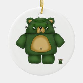 Frankenstein Bear Round Ceramic Ornament
