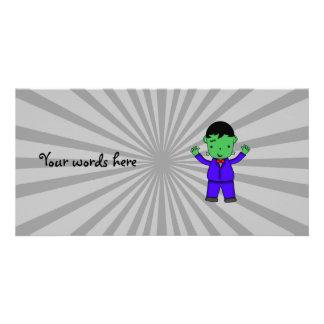 Frankenstein boy custom photo card