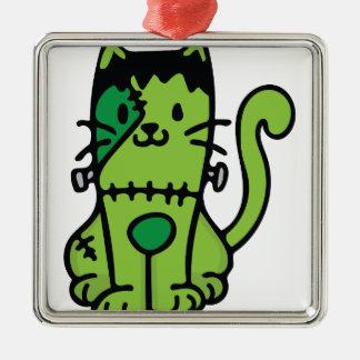 Frankenstein Cat Silver-Colored Square Ornament