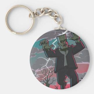 frankenstein creature in storm basic round button keychain