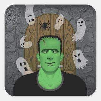 Frankenstein et autocollant carré de fantômes