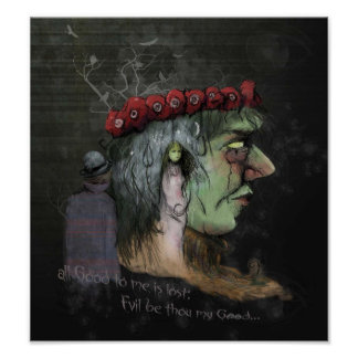 Frankenstein Good and Evil Quote Illustration Poster