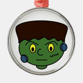Frankenstein Halloween Cartoon Silver-Colored Round Ornament