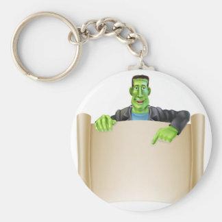 Frankenstein Halloween Sign Scroll Basic Round Button Keychain