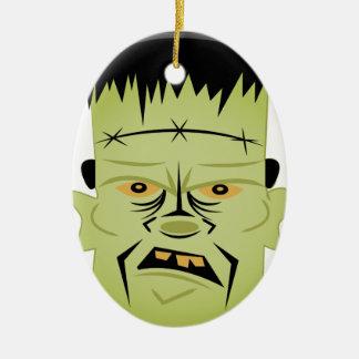 Frankenstein Head Ceramic Oval Ornament