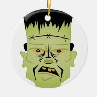 Frankenstein Head Round Ceramic Ornament