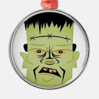 Frankenstein Head Silver-Colored Round Ornament