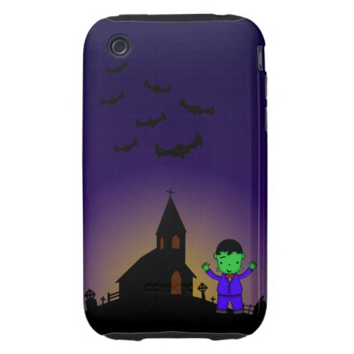 Frankenstein in graveyard with bats phone case tough iPhone 3 cases