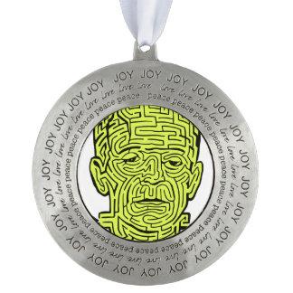 Frankenstein Maze Round Pewter Ornament