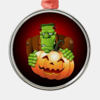 Frankenstein Monster Cartoon with Pumpkin Silver-Colored Round Ornament