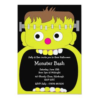 "Frankenstein Monster Face Halloween Party 5"" X 7"" Invitation Card"