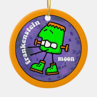 frankenstein moon round ceramic ornament