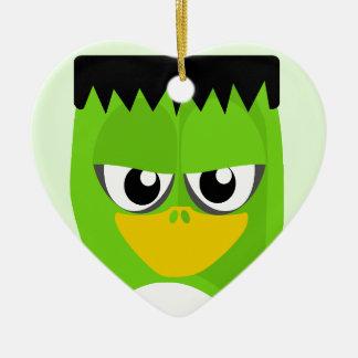 Frankenstein Penguin Ceramic Heart Ornament