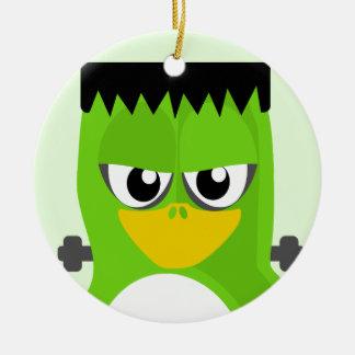 Frankenstein Penguin Round Ceramic Ornament