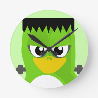 Frankenstein Penguin Round Clock
