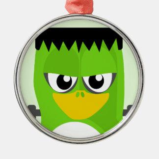 Frankenstein Penguin Silver-Colored Round Ornament