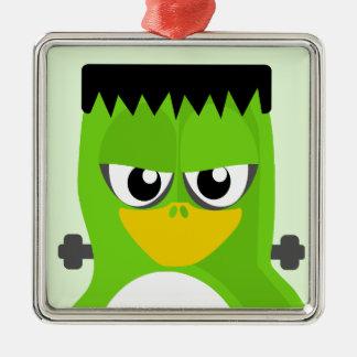 Frankenstein Penguin Silver-Colored Square Ornament